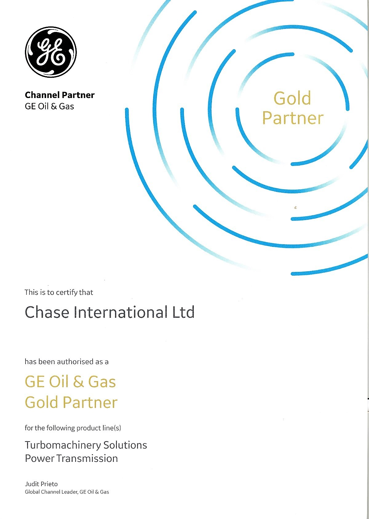 GE Channel Partner Certificate