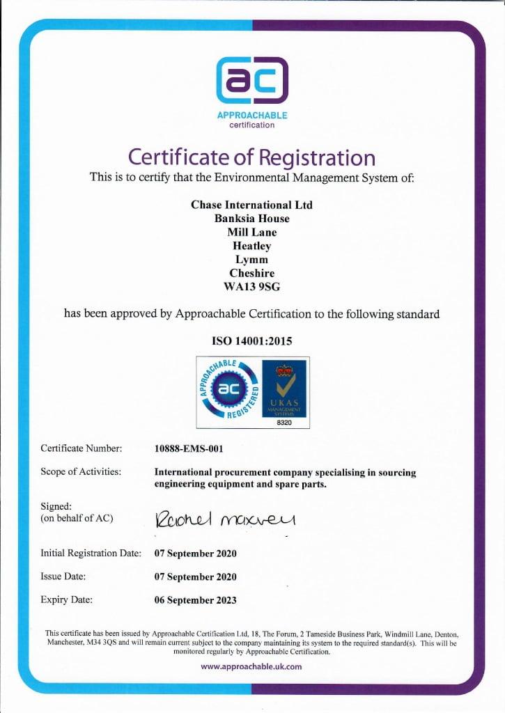 Chase International ISO 14001 2015